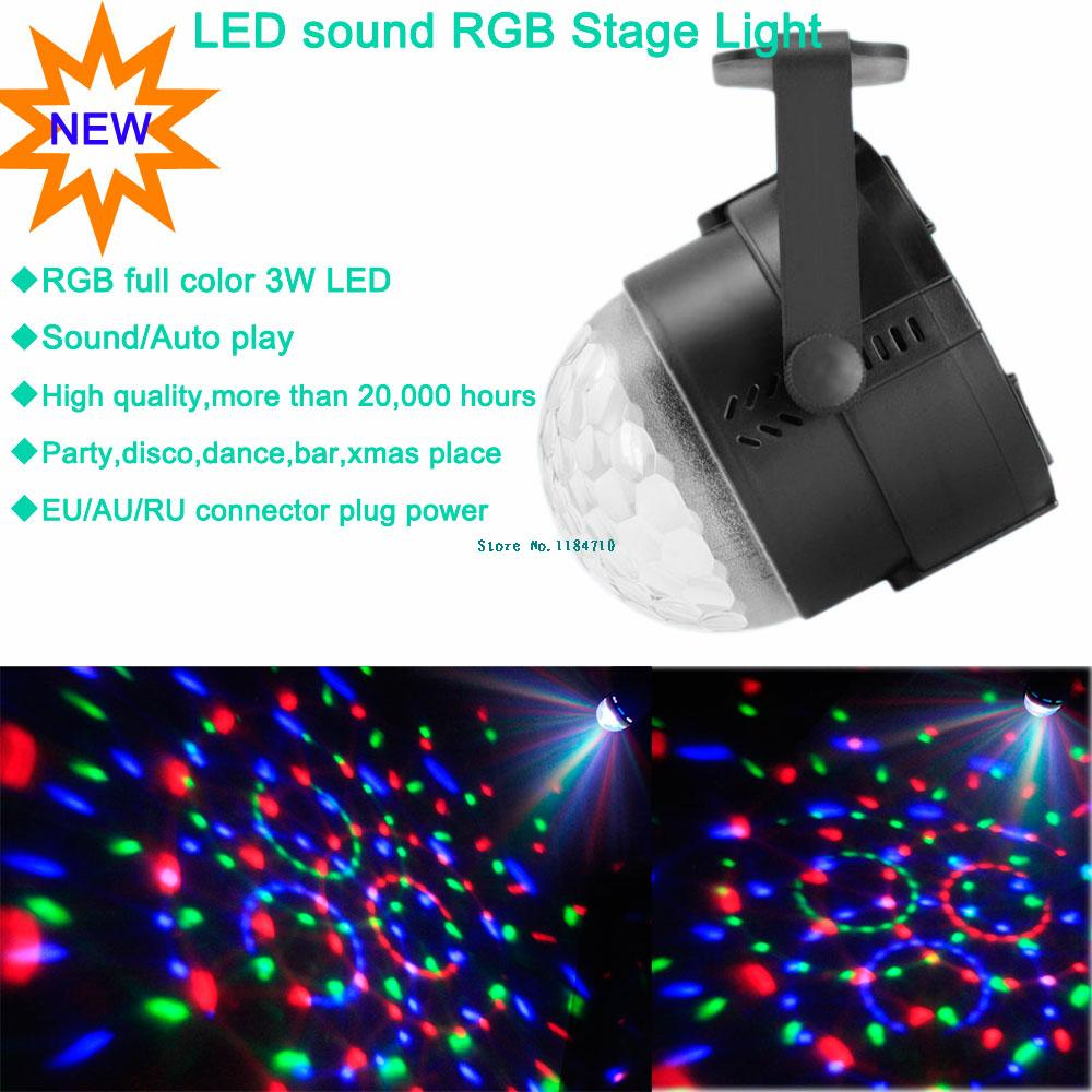 new arrival 2014 mini RGB 3w LED sound Projector DJ Light dance Disco ball bar par Party Xmas effect Stage Lights Show B33 free(China (Mainland))