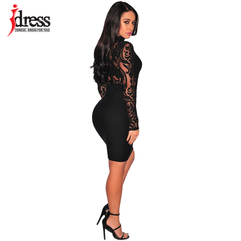 IDress 2017 New Arrival BlackBlue Red Macacao Feminino Mesh Shorts Femme Playsuit Overalls for Woman Long Sleeve Sexy Bodysuit (3)