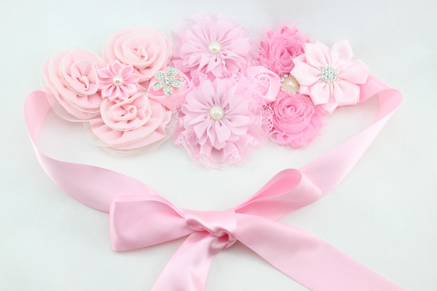 New Design Flower Waist Belts with Pearl for Woman Wedding Dress also Apply to Baby Girls Party(China (Mainland))
