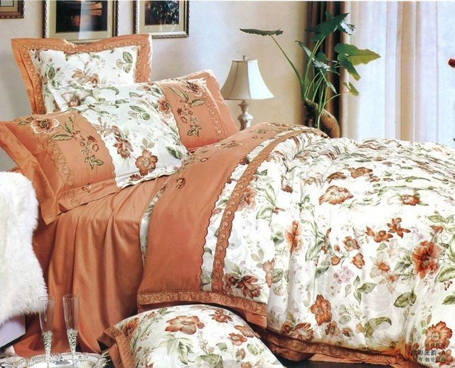 Free shipping, 100% cotton, Reactive print, Jacquard and embroidery,Six-items set, Bedding set (QYLY-1)