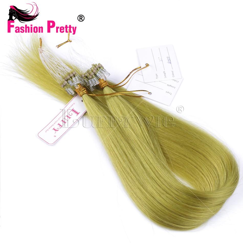 Green Color Micro Loop Human Hair 10A Peruvian Virgin Hair Micro Loop Ring Links Brazilian Virgin Human Hair Micro Extensions