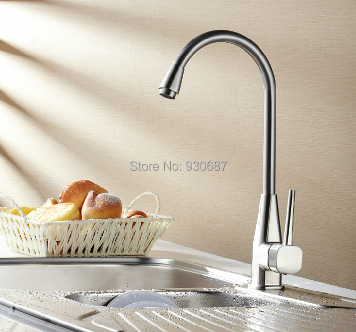 Фотография Chrome Finish Swivel Spout Kitchen Faucet Single Handle Mixer Tap Centerset