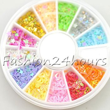 New 10 Wheels/lot Nail Art Decoration Star Heart Style Acrylic Glitter Mix Color DIY Tips Art