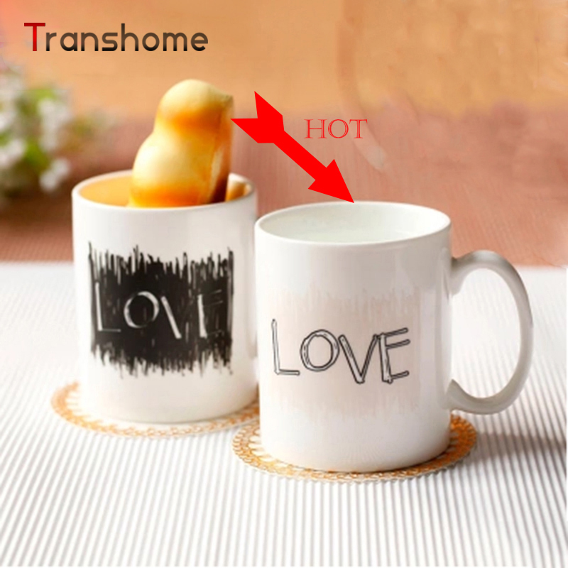 Creative Couple Cups Ceramic Mug Color Changing/Change Porcelain Cup White Coffee Mugs Love Novelty Gift Transhome(China (Mainland))