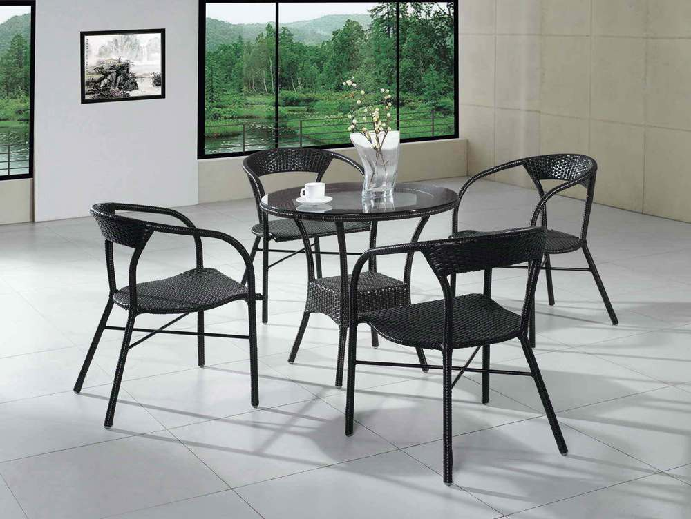Outdoor wicker chair outdoor furniture garden patio table for Balcony table and chairs