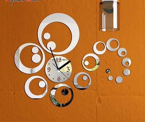 Wholesale Art Home decoration Mirror Surface 3d Sticker Set Wall Stickers Fashion Clock Dial Thick Plastic for Kids Rooms 31(China (Mainland))