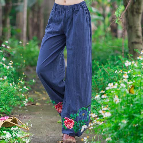 Women Gypsy Style Long Elastic Waist Embroidery Harem Pant 2017 Cotton Loose Ethnic Ankle-Length Pants Chinese Clothing Store