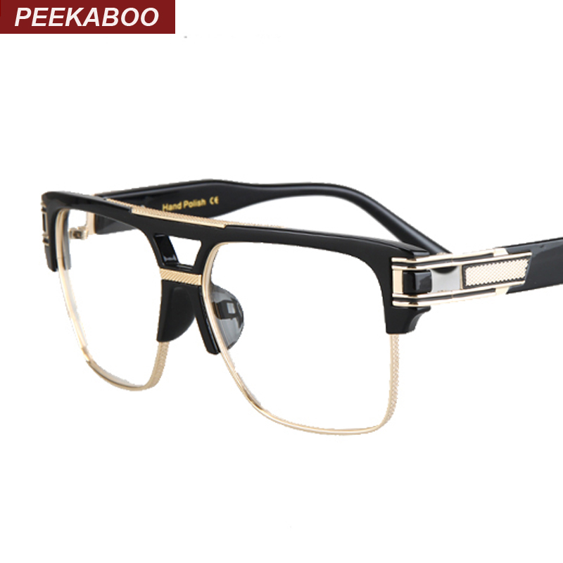 Half frame eyeglasses frames men square optical gold black eye glasses frames for women brand designers 2016 big gafas hombre(China (Mainland))