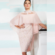 Pink Vintage Lace Appliques Knee Length Mother of the Bride Dresses With Cape 2015 vestido mae da noiva Evening Gowns Plus size(China (Mainland))