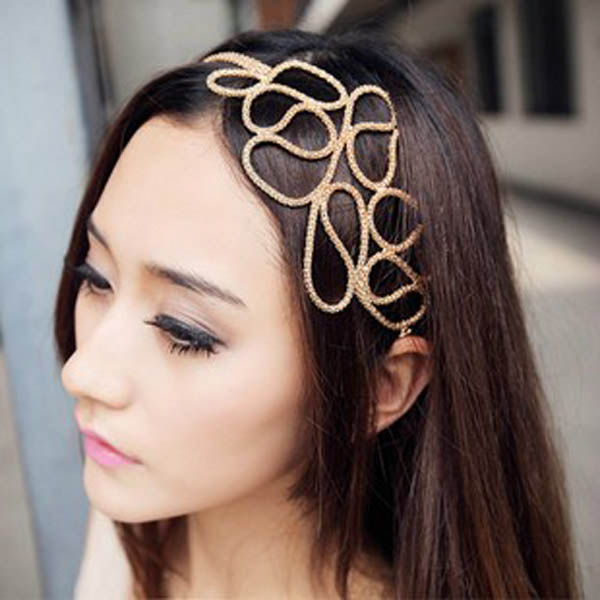 New Hot Fashion Hollow Out Braided Gold Head Band Stretch Hair font b Accessories b font