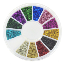 Blueness 12 colors Mixed Alloy Glitter 3D Nail Art Jewelry Decorations Charms Adhesive Beads Supplies for Nails ZP206