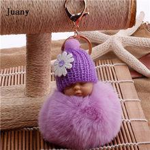 Fake Fur Pom Pom Mulheres Cadeia Bugiganga Chave Anel Chave Do Carro Chaveiro chaveiro fofo em saco de Presente Da Jóia(China)
