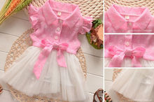 Adorable Princess Baby Toddler Girls Summer Tutu Bow Lace Tulle Party Dress(China (Mainland))