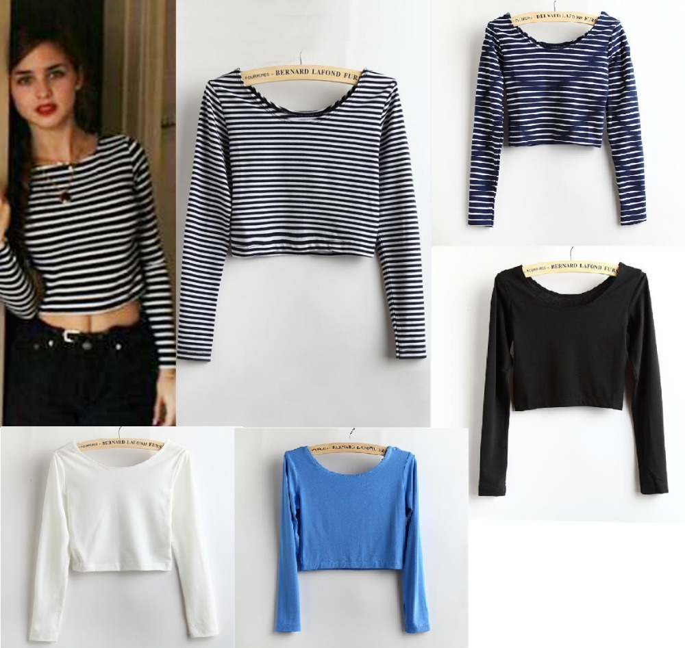 2014 new fashion usa aa 5 colors sexy lady women tight for Tight t shirt crop top