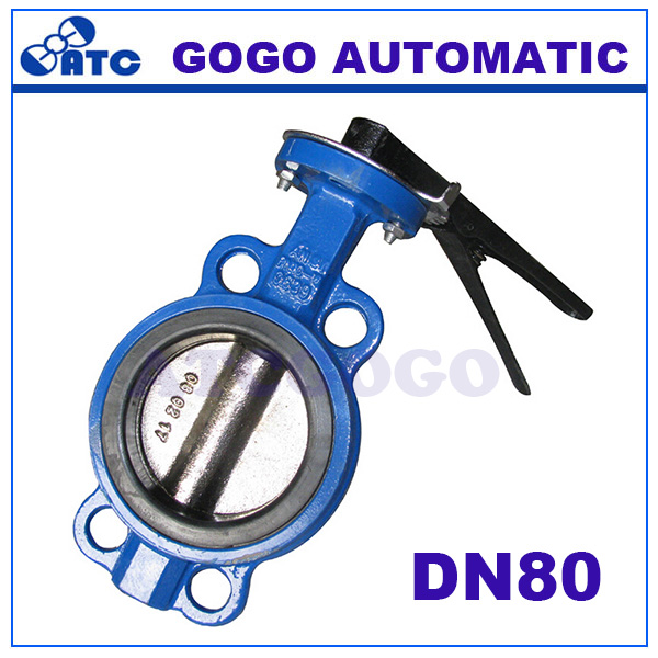 D71X-16 DN80 water/steam PTFE seal pneumatic diaphragm manual butterfly valve(China (Mainland))