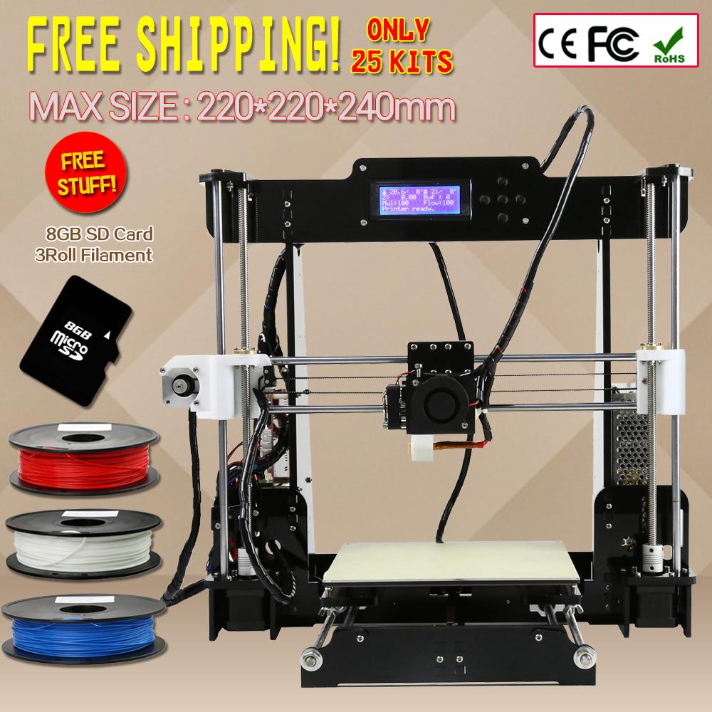 Anet A8 Size 220 220 240 Precision Reprap Prusa i3 DIY 3D Printer Kit With 3Rolls