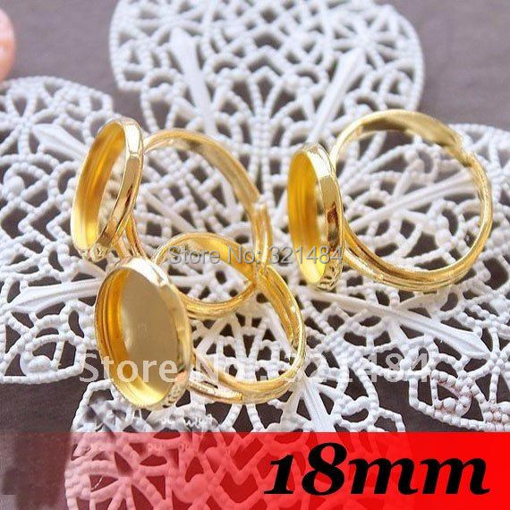 Free ship! Gold Plated 300pcs With 18mm Cameo Setting Adjustable Ring Base Blanks Trays Bezel Findings<br><br>Aliexpress