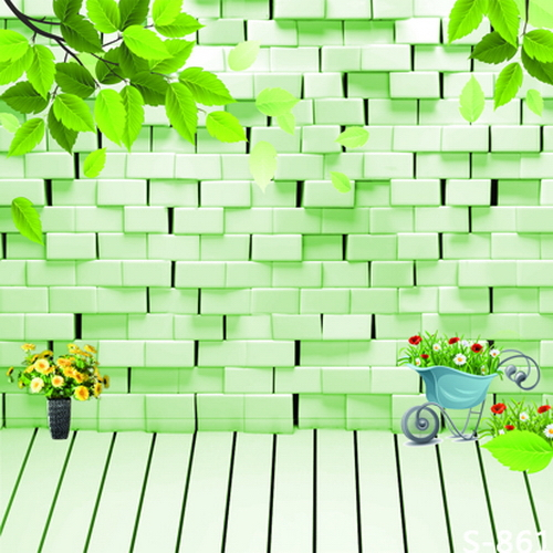 10x10FT Light Green Uneven Bricks Wall Branch Flowers Cart Yard Custom Photography Backdrops Studio Backgrounds Vinyl 8x8 8x10(China (Mainland))