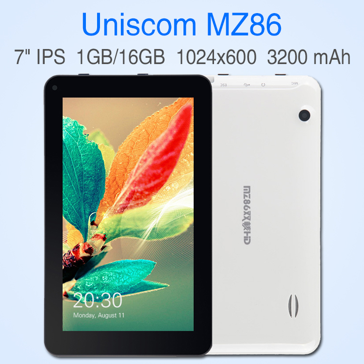 Quad Core 1.3Ghz Android 4.4 tablet pc 7 inch IPS screen RAM 1GB ROM 16GB Bluetooth computer HDMI Wifi Game laptop Uniscom MZ86(China (Mainland))