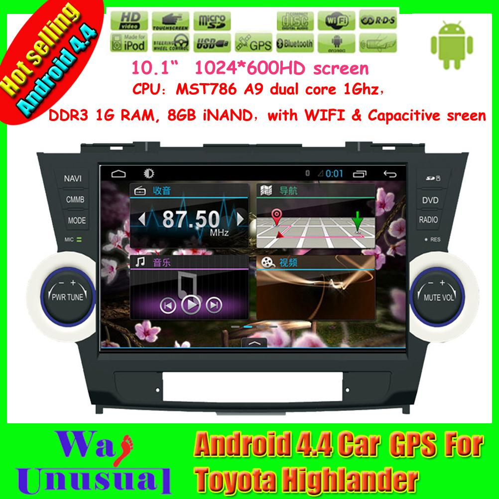 2015 Top Car Styling 10.1'' Pure Android 4.4.4 car dvd player for Toyota Highlander with GPS Free Map Radio BT Free Shipping(China (Mainland))