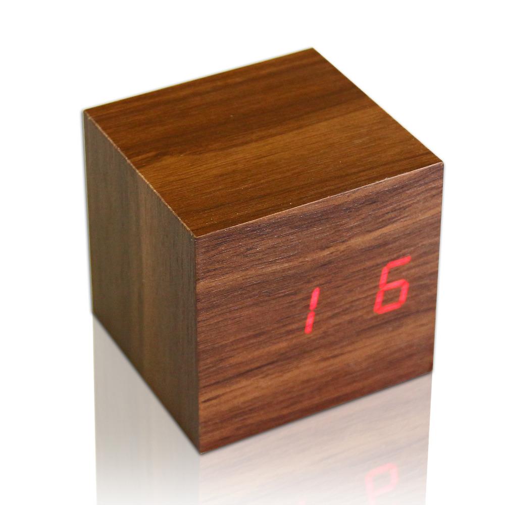 Mini Clock Modern Wooden Cube Design Digital LED Desk Alarm Clock Thermometer Timer Calendar(China (Mainland))
