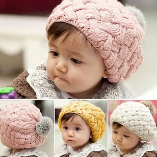 Free Shipping Fashion Baby Girl Caps Girls Beret Hat Bonnet Baby Hat, Warm kid's Crochet Cap lovely infant Cake Hat, baby Beanie(China (Mainland))