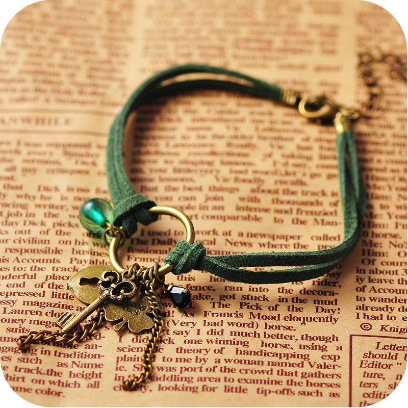 Unique Army Green Leather Rope Clover Key Pendant Cashmere Anklets,Cheap Ankle Bracelets for Women,Leather Anklets Jewelry(China (Mainland))