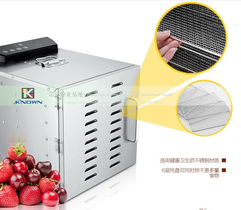 6 layers Stainless steel Fruits dryer machine, dried fruit dryer vegetable beef sausage food drying machine