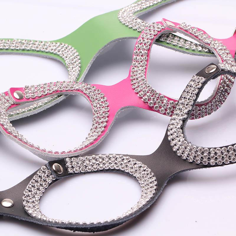 Pet Products For Dogs New Design Genuine Cow Leather Fashion Bling Rhinestone Dog Harness Collar For Small Dogs Chihuahua(China (Mainland))