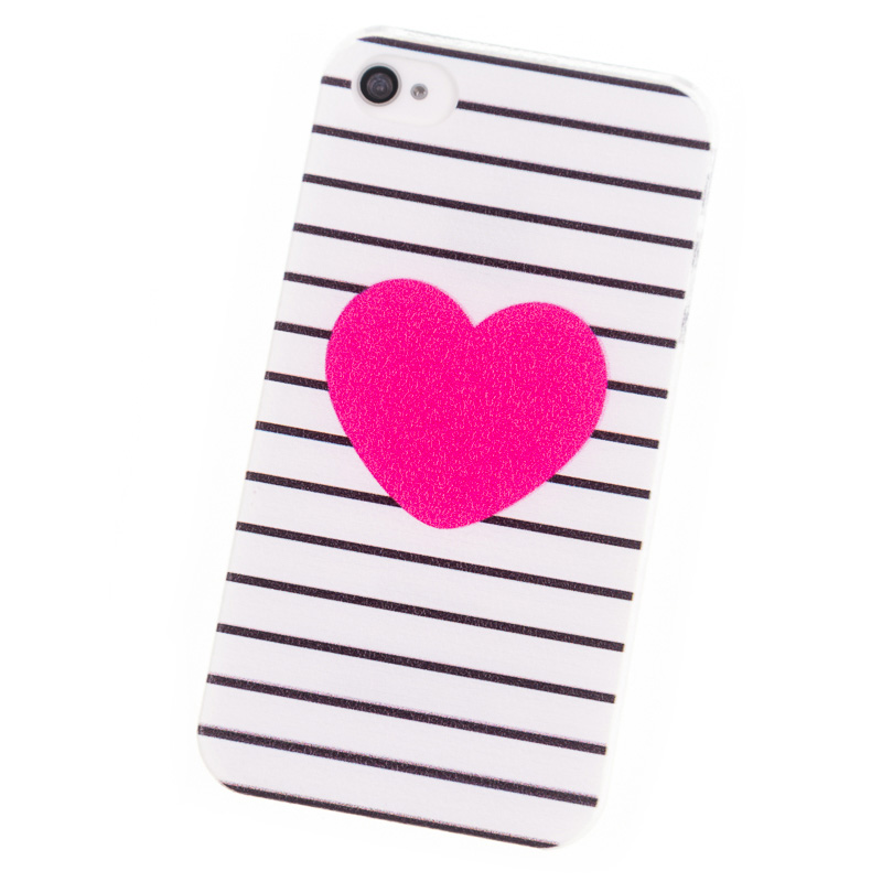 Phone Cases for iPhone 4 4S Case Red heard Stripes Cover mobile phone bags & cases Brand Screen Protector Luxury Coque for Apple(China (Mainland))