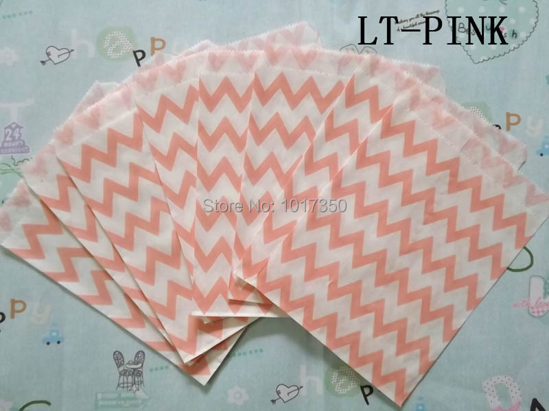 Light pink chevron Kraft Paper Bags Gift Favor Treat Bag cake goodie candy bags Valentine wedding Christmas party supplies 50pcs(China (Mainland))