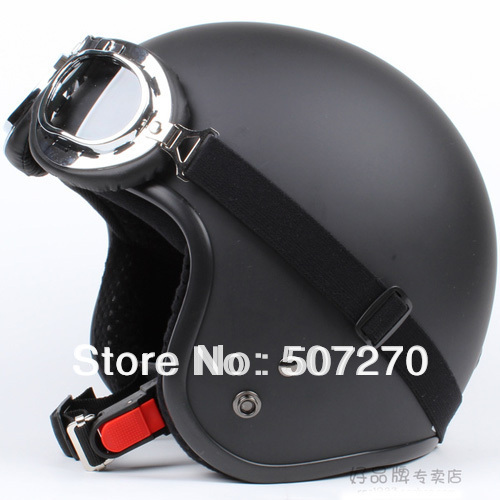 "E.02 3/4 Taiwan "" SYC ABS Scooter Casco Open Face Vespa Motorcycle Full Matte Black Helmet & UV Goggles Visor Summer - Chinese Products Co.,Ltd store"