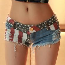 Hot Sexy America Flag Short Low Waist Bar Club Hole Ripped Women Jeans Cut Off Ladies Fashion Short Summer Jeans(China (Mainland))