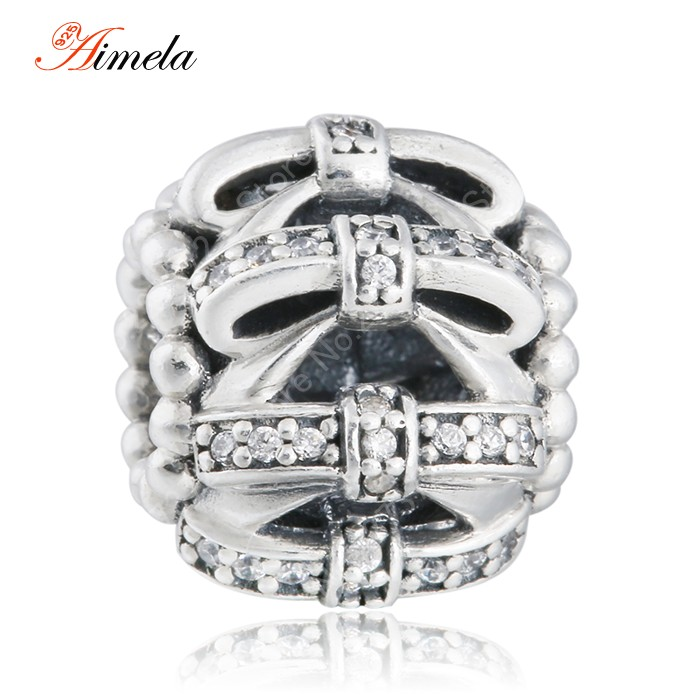 2015 Winter Shimmering Openwork Bowknot Ball Charms with Pave CZ 925 Sterling Silver Fine Jewelry Women Bracelet DIY Accessories