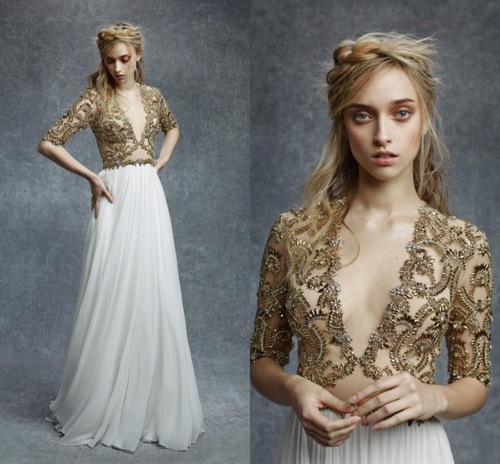 Gold color beaded wedding dress a line sexy v neck half for Gold beaded wedding dress