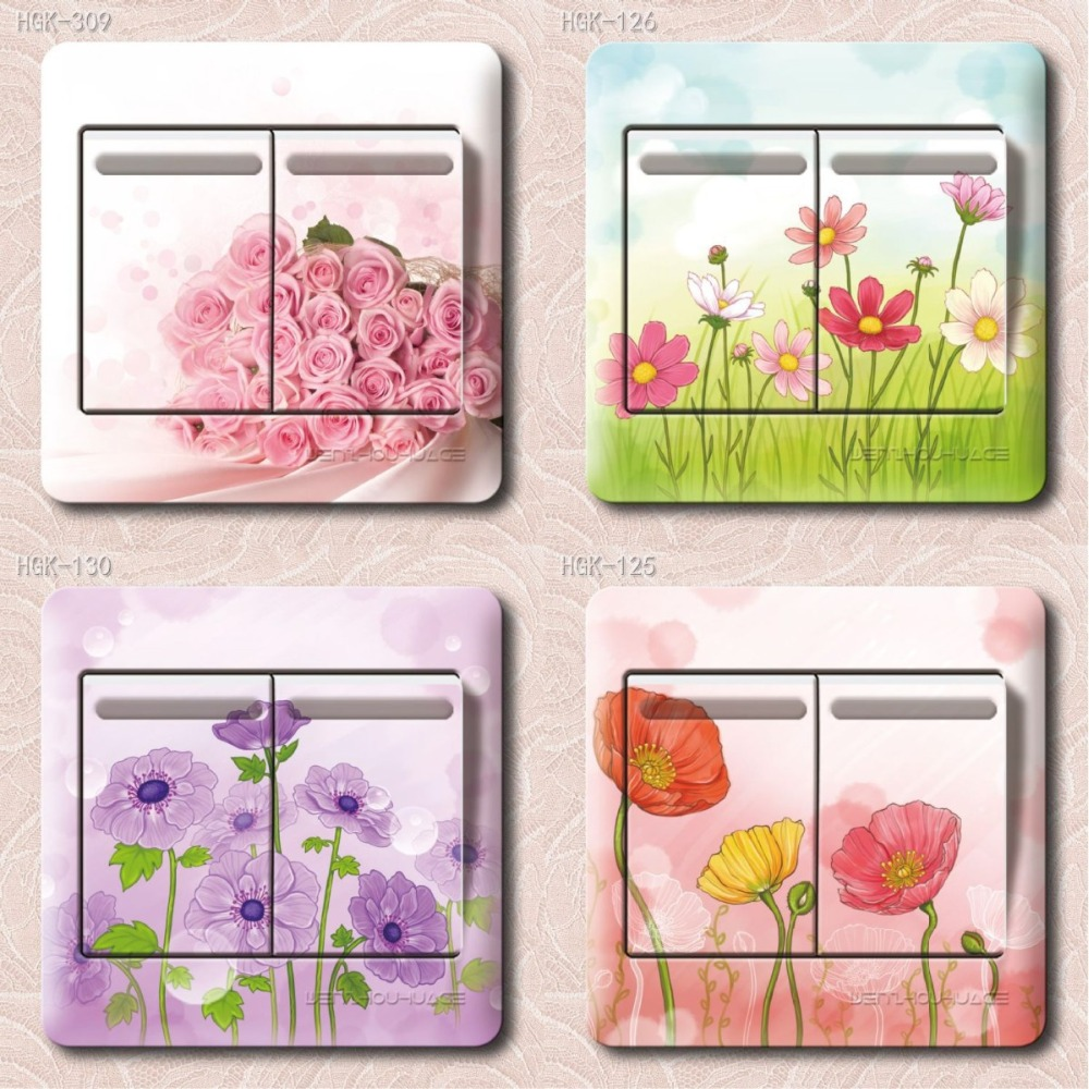 HGK birch lattice Series Flower PVC switch stickers bedroom living room wall stickers home decor children's room stickers(China (Mainland))