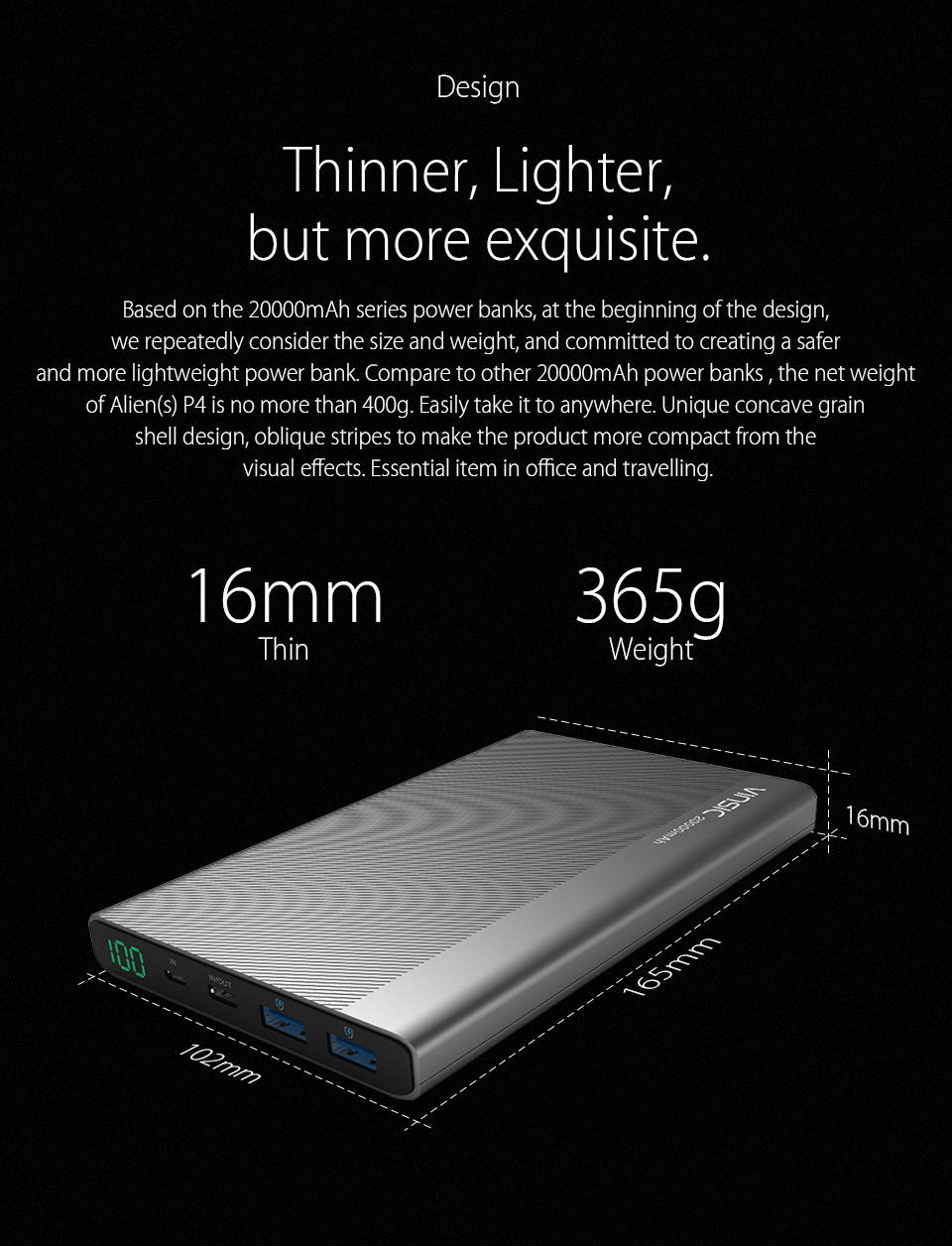 Vinsic 5V/3A 20000mAh Type-C Fast Charge Power Bank Dual Smart USB Outputs External Battery Charger Type-c USB Car Charger