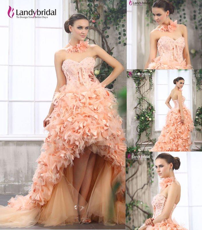 Luxurious sweetheart organza high low hem asymmetrical for Wedding dresses asymmetrical hemline