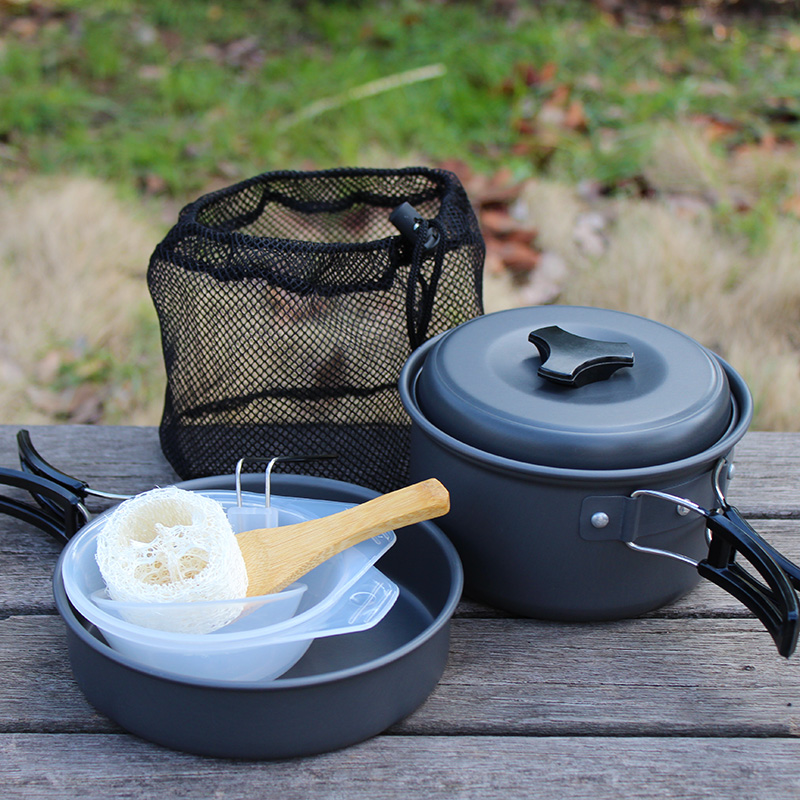 High quality camping cookware non-stick outdoor cooking utensils outdoor 1 - 2 ds-200 tableware(China (Mainland))