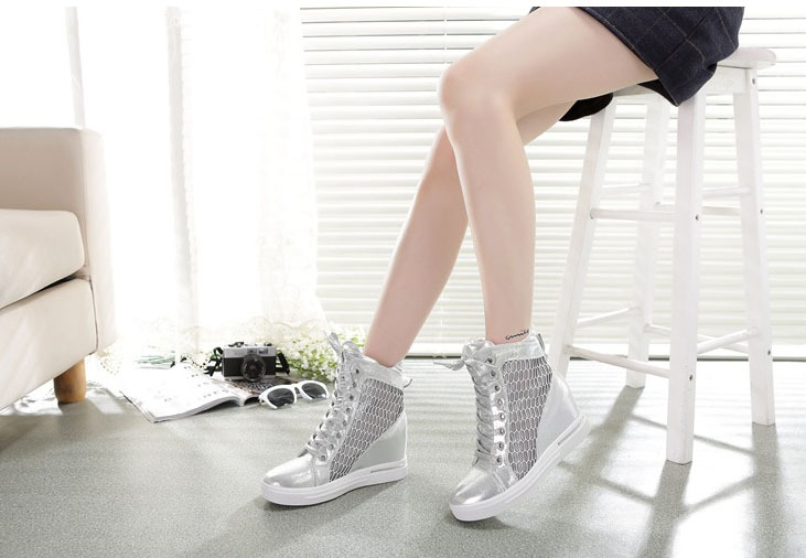European leg hollow breathable mesh shoes high-top lace-up wedges ladies flat elevator - eight store