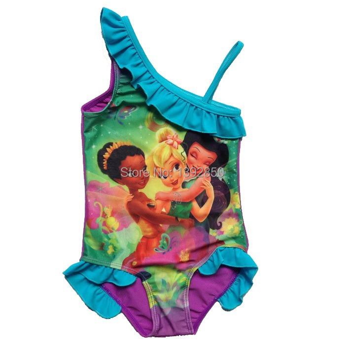 Child baby girls three fairies one pieces swimsuit swimwear 3-8T toddler infantil biquini bikini swimming costume bathing suit(China (Mainland))