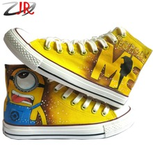 Cartoon Anime Figure Women Despicable Me Shoes Minion Shoes Women And Men Canvas High Tops Sneakers Women Shoes Minions Shoe