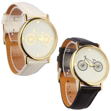 New Unisex Quartz watch men women Analog wristwatches Bicycle Patter Sport Watches Leather watches Analog WristWatch Black&white