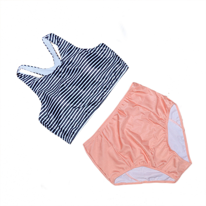 Retro de Cintura Alta Mujeres Bikini 2016 traje de Baño A Rayas Tops Naranja traje de Baño Bikini Conjunto Traje de Baño traje de Baño maillot de bain M6342(China (Mainland))