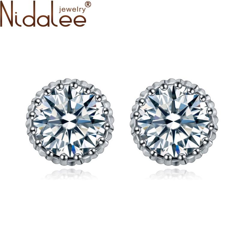 20016 Nidalee Design Earrings Women Circular Stud Heart Cubic Zircon Earring Gold Channel Brand Earrings Fashion Jewelry CB1130(China (Mainland))