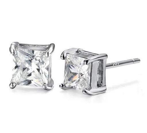 Wholesale Fashion Men Earrings 925 Silver Crystal Square Ear stud Earrings SK092(China (Mainland))