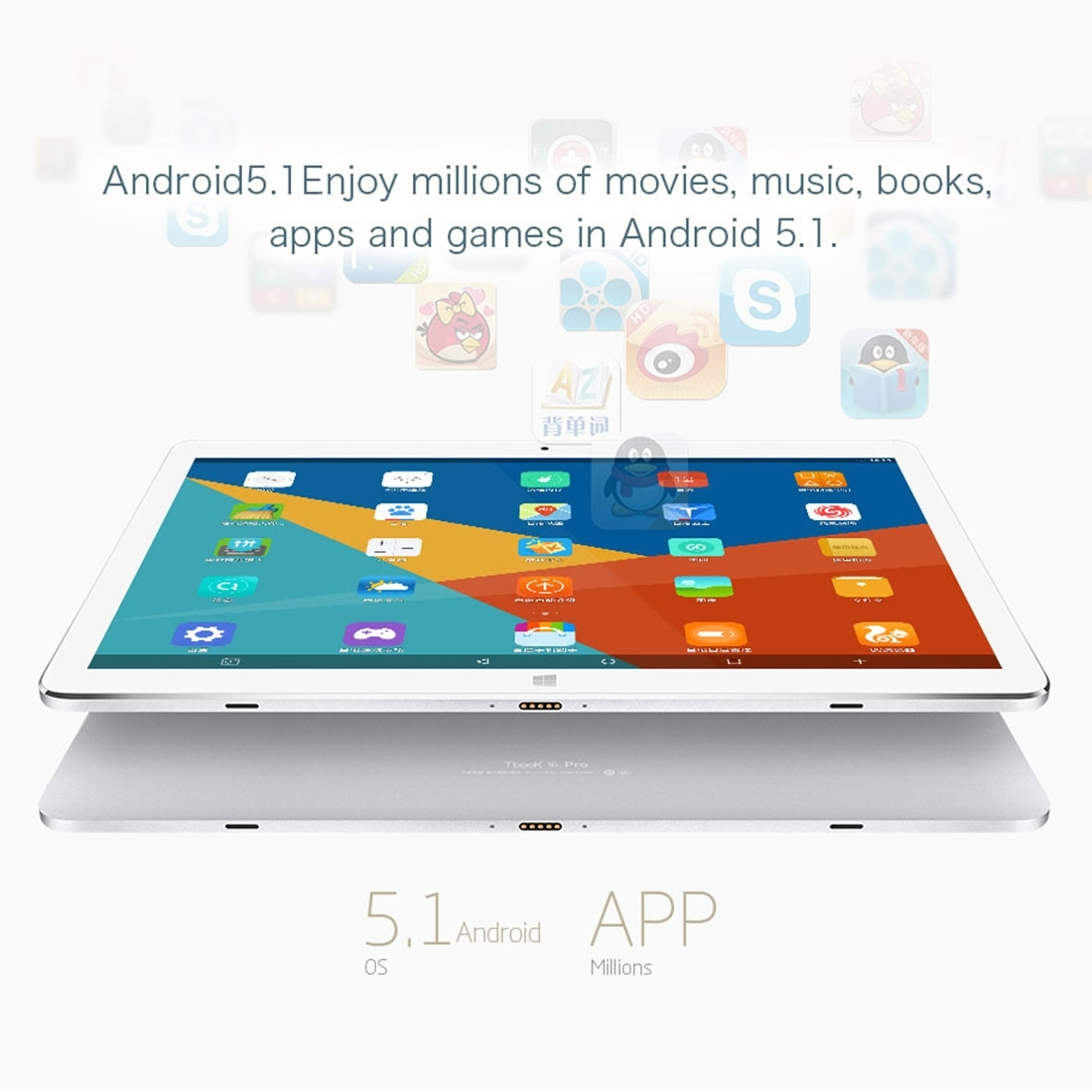 Original 11.6″ inch Teclast Tbook 16 Pro Tablet PC Intel Cherry Trail X5 Windows 10 Home & Android 5.1 4GB 64GB Support OTG HDMI