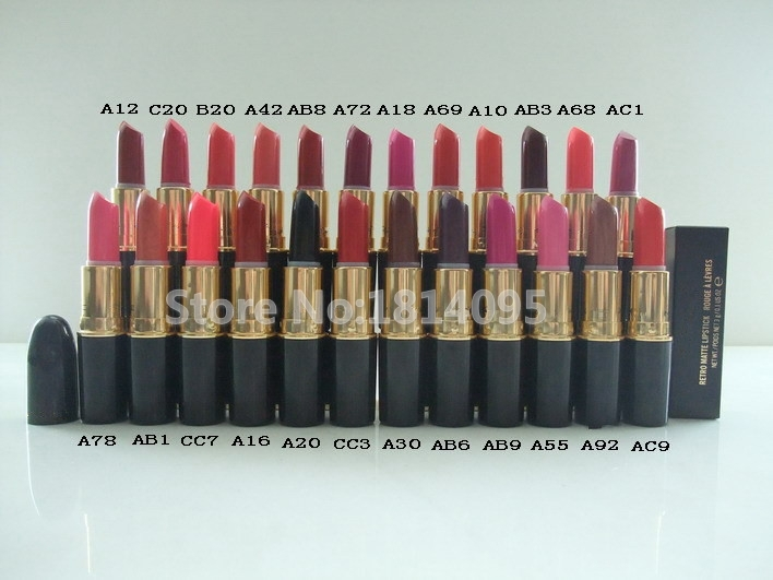 Best selling 24 color easy to wear mc black matte waterproof lipstick brand makeup,Free Shipping(China (Mainland))
