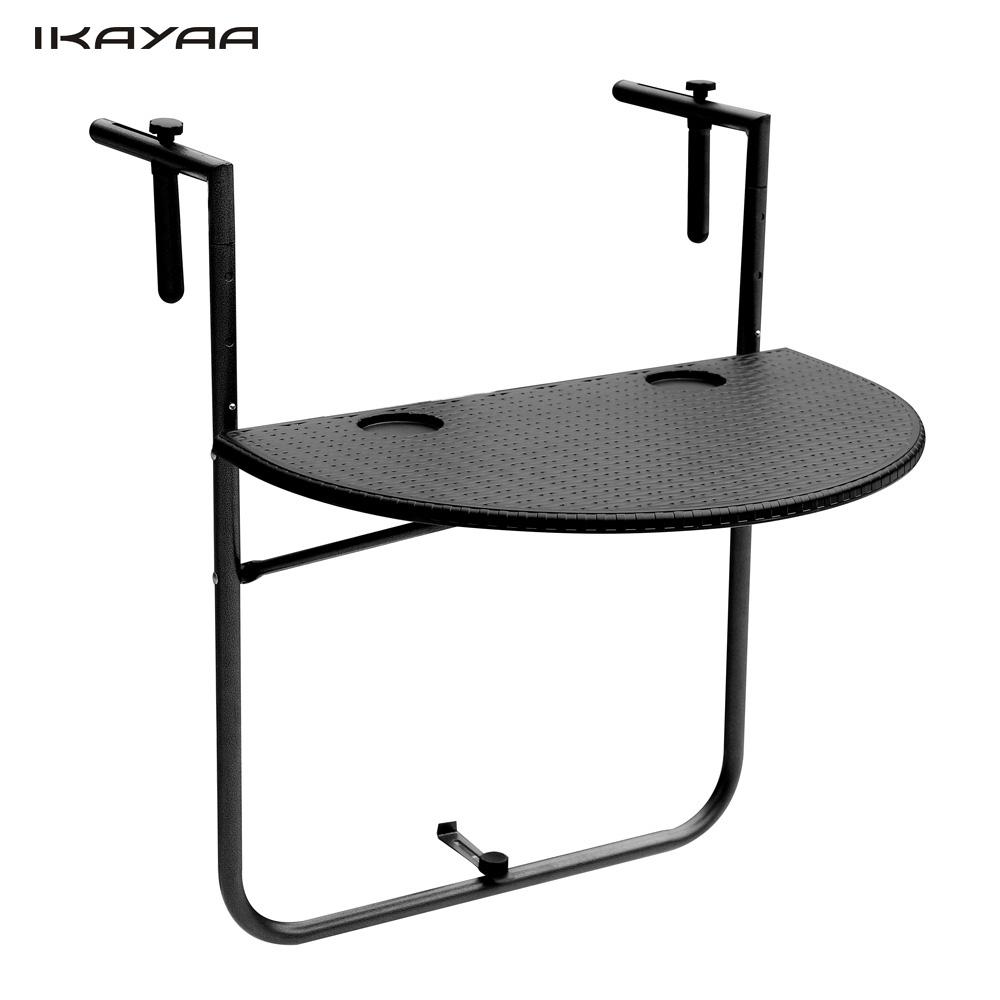 US Stock Brand IKAYAA Folding Balcony Deck Table Adjustable Hanging Patio Railing Dining Table Garden Patio Furniture EN581(China (Mainland))
