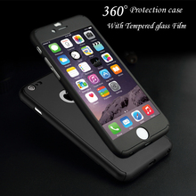 360 Degree Full Body Protection Cover Show Logo Case For iPhone 5 5S 6 6S  6 Plus 6S Plus Luxury Armor Cases W/ Tempered Glass
